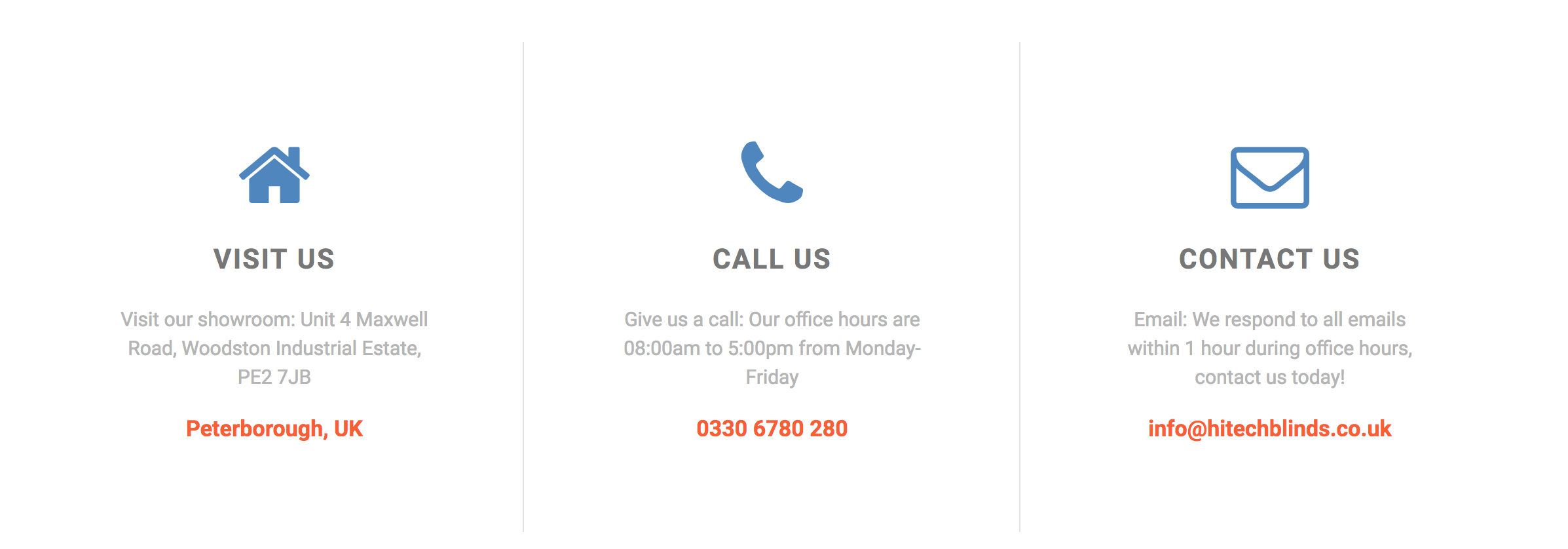 Contact details for HiTech Blinds
